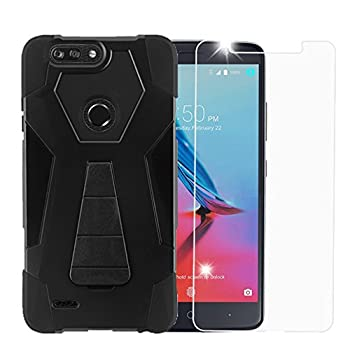 Black Rugged Shockproof Case w/Kickstand Cover + [Scratch-Proof] Tempered Glass Screen Protector Compatible with ZTE Blade Z Max/Sequoia Z982