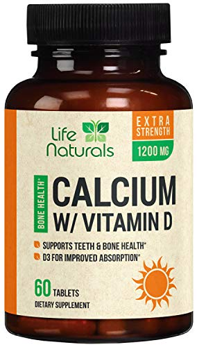 Calcium Supplement High Potency Daily Calcium Pills Plus Vitamin D 600mg - Made in USA - Best Highly Absorbable Bone Support Vitamins, Non-GMO for Men & Women - 60 Tablets