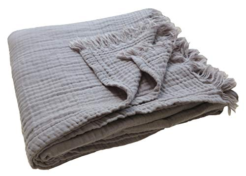 100% Organic 60'x80' Muslin Cotton Bed Blanket for Couch Adult, 4-Layer Pre-Washed Plant Dyed Yarn, Breathable Super Soft, Cozy, Warm Lightweight Oversized Throw Blanket, All Season (Light Grey)