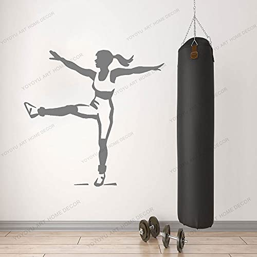 Zdklfm69 Pegatinas de Pared Adhesivos Pared Fitness Girl Sport Work out Gym Training Room Interior Vinilo Ventana Pegatina decoración Papel Tapiz Creativo 103x103cm