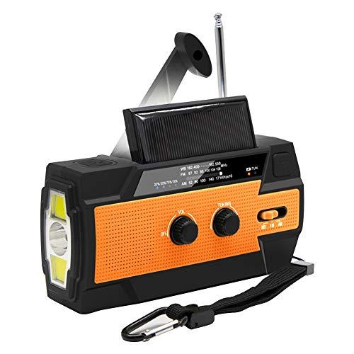 Radio de Emergencia Multifuncional, Cargador USB 2000mAh Power Bank, Radio de manivela Solar de Emergencia con Linterna LED, Alarma SOS para el hogar, Exterior