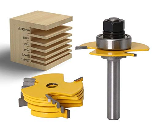 Meccion 6 Stück stapelbare verstellbare Scheibennutfräser, 8 mm Schaft, 1,27 cm Schnitttiefe 1,8 mm – 6,35 mm Klingenlänge, professionelle Schneidewerkzeuge für die Holzbearbeitung