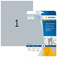 HERMA 4224 210x297mm Laser Film Rectangular Heavy Duty Labels - Matte Silver (25 Labels, 1 per Sheet)