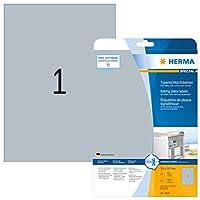 HERMA 4224 210x297mm Laser Film Rectangular Heavy Duty Labels - Matte Silver (25 Labels, 1 per Sheet)