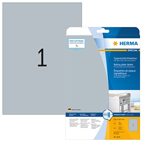 HERMA 4224 Typenschild Folien-Etiketten DIN A4 (210 x 297 mm, 25 Blatt, Polyesterfolie, matt) selbstklebend, bedruckbar, extrem stark haftende Klebefolie, 25 Klebeetiketten, silber