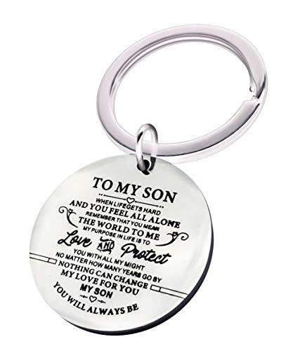 Family Inspirational Keychain Gifts Engraved Words to My Son Key Ring You Will Always be My Son Car Key Ring