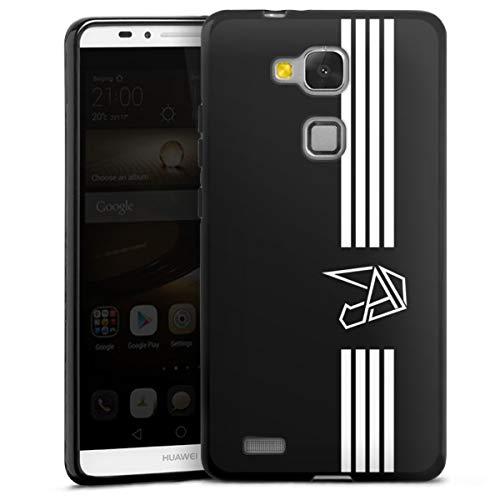 DeinDesign Silikon Hülle kompatibel mit Huawei Ascend Mate 7 Hülle schwarz Handyhülle Anica Youtuber Streifen