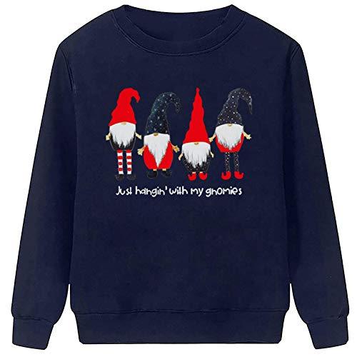 CHMORA Decoración de Navidad, Navidad Señora de Cuello Redondo Manga Larga Santa Estampado Suéter para ella