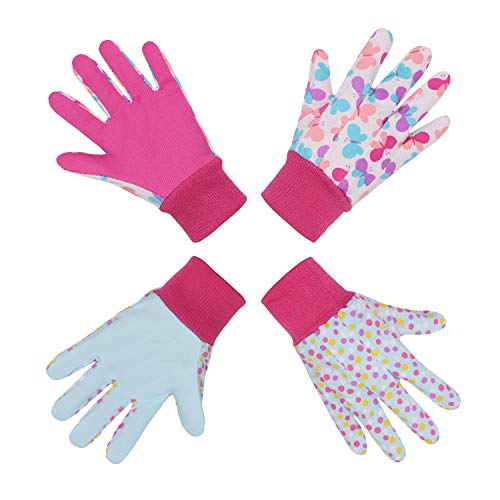2 pares de guantes de jardinería para niños de 5 a 6 años de edad, 7 a 8 años, algodón, unisex