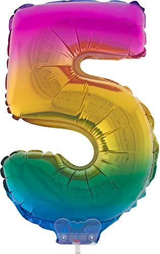 Das Kostümland Zahlen Folienballon 41 cm mit Stab - Regenbogen Zahl 5