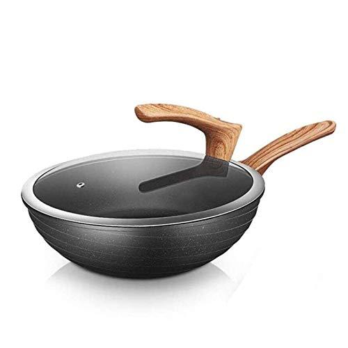 Adesign Wok antiadhésives Sauté Pan avec couvercle et Spatule, □ Non Stick, résistant aux rayures, anti-échaudage Poignée for tous Stove Top compris Cuisinière à induction (Size : 30cm)