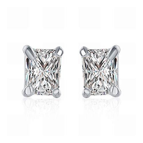 JY Pendientes de Diamantes Rectangulares de Piedra Blanca Pendientes de Plata con Circonitas Geométricas Damas/Acero Inoxidable/Hipoalergénico/Brillo Plateado/Diamante/Cri