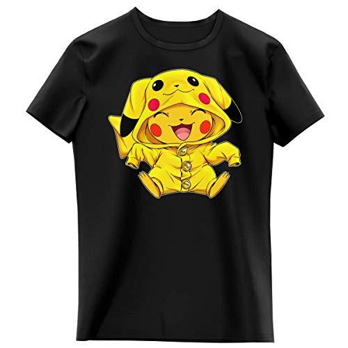 Okiwoki T-Shirt Enfant Fille Noir Parodie Pokémon - Pikachu - Le Cosplayer Ultime !! (T-Shirt Enfant de qualité Premium de Taille 8 Ans - imprimé en France)