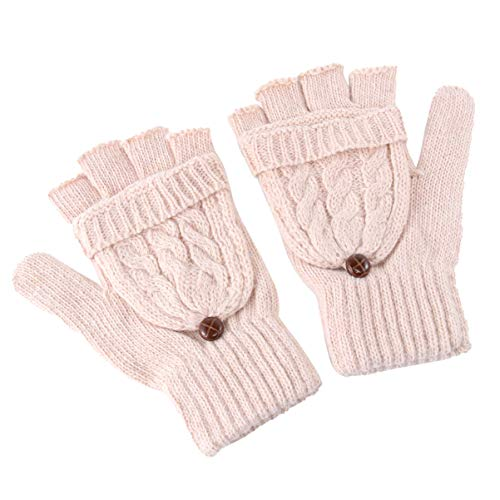 iplusmile Damen Winterhandschuhe Warme Wolle Gestrickt Cabrio Halbfinger Handschuhe Fingerlose Fäustlinge (Beige)