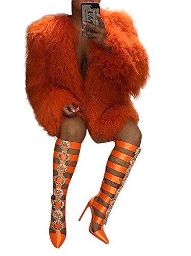 Dreamparis Womens Faux Fur Coats Open Front Winter Cardigan Sherpa Jacket Shaggy Fluffy Warm Outwear Orange S