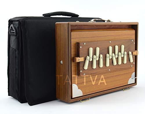 "Shrutibox TATTVA ""Calcutta"" - MEDIUM Size - made by M.K. Sardar, EXTRA langer Klang-Atem, C-C 13 Stops, 440Hz, Teak Holz, PRIMEVERSAND, Yoga, Mantra, Shruti Box"