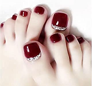 24pcs Fake Toe nails Summer Red Solid Rhinestone Decorated Bridal Wedding Short Square Full Cover with designs