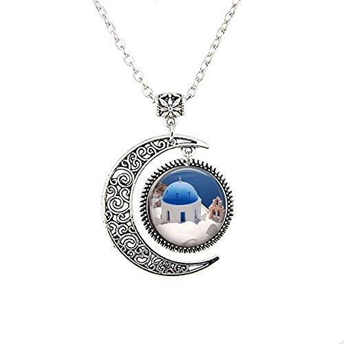 qws Santorini Griechenland Mond Halskette – Mediterranes Meer – Santorini Mond Halskette – Griechenland Reise Schmuck – Griechische Kirche – Griechische Inseln Schmuck – Oia