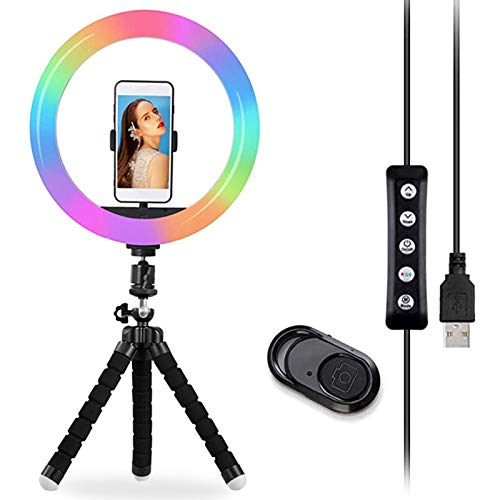 Anillo de luz para Selfie de 10 Pulgadas, Anillo de luz LED con Clip de 120 RGB y trípode