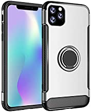 2019 for iPhone 11 pro max case 360 Degrees Rotation Back Ring Carbon Fiber case for Samsung Note 10 pro for Huawei p30 pro (Silver)