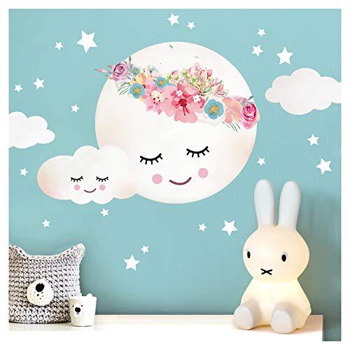Little Deco Wandsticker Kinderzimmer Mädchen Mond Wolken Sterne Blumen I L - 40 x 29 cm (BxH) I Wandtattoo Babyzimmer selbstklebend Wandaufkleber Baby Kinder DL264