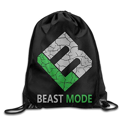 Hicyyu Creative Design Marshawn Lynch #24 Football Beast Mode Logo Drawstring Backpack Sport Bag for Men and Women