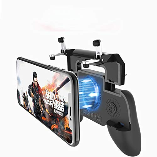 Fiyapoo Mobile Game Controller for PUBG/Fortnite, with Portable Power Bank Cooling Fan, Mobile Trigger Gaming Joysticks for 4.5-6.5inch Android iOS Phone【Upgraded Version 2000mAh】