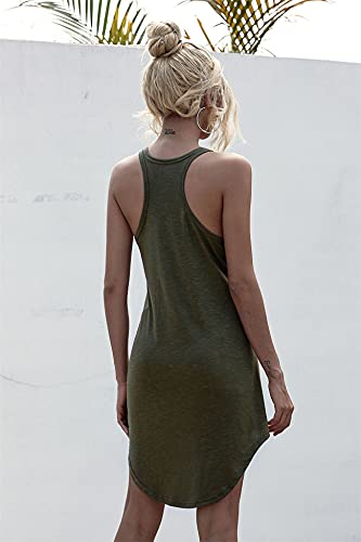 WOOKIT Vestido Corto de Verano Vestido Casual sin Mangas con Cuello Redondo Falda Acampanada Minivestido de Tirantes Finos de Color Liso-Verde-L
