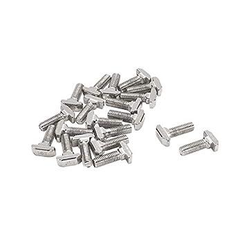 MroMax M8 Thread 25mm T-Slot Drop-in Stud Sliding Screw Bolt Carbon Steel Hammer Head Bolt T Screw 20pcs