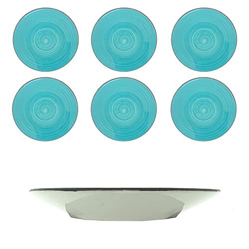 Juego de 6 platos de gres para 6 personas, plato de 15 cm, vajilla de gres pintada a mano (turquesa)