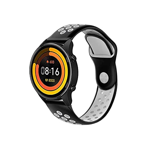 PaceBid Correa Compatible con Xiaomi Mi Watch, Impermeable Ajustable Silicona Reloj de Recambio Brazalete Correas,Suave, Transpirable, Resistente Banda para Xiaomi Mi Watch- (Black-White)