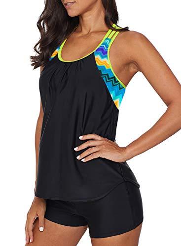 Dearlove Women's Blouson Striped T-Back Push Up Tankini Top Halter Padded Slimming Swimsuit Sporty Swimwear Black Plus Size XL 14 16