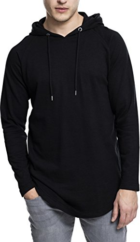 Urban Classics Herren Kapuzenpullover Long Shaped Terry Hoody,Schwarz (black), M