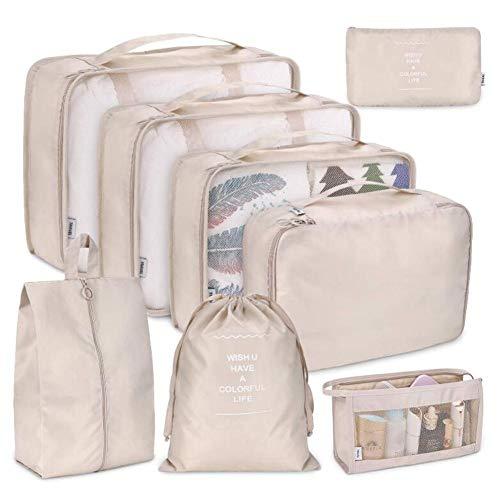 Ritapreaty Reiseveranstalter, Reise Essentials-Bag Set 8-teiliges Gepäck Klassifizierung Aufbewahrungstasche für Kleidung Kosmetik Schuh Travel Organizer-Taschen