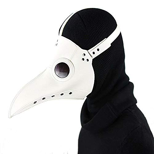 JinYiny Pest Doktor Bird Mask Mittelalterliche Steampunk Plague Bird Mask Leder Long Nose Bird Beak Doctor Mask mit schwarzem Hut für Halloween Kostüm Cosplay