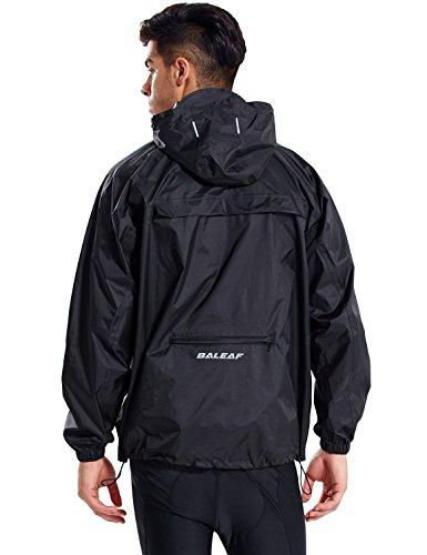BALEAF Unisex Regenjacke Einpackbar Wasserdicht Wetterschutz Jacke mit Kapuze Poncho Regenmantel Schwarz L