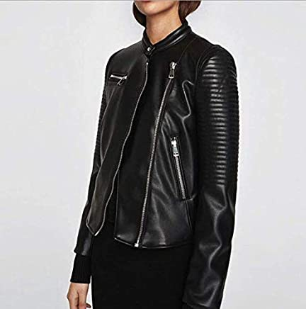 f66f9448e5a4 Women's V neck locomotive ladies leather jacket long-sleeved rider jacket  leather size M