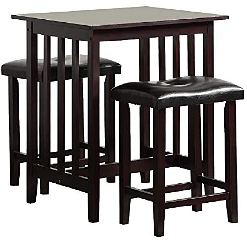 Pub Table Set 3 Espresso Wooden Kitchen Island Breakfast Dining Counter Height Table Stools with Cushions Pub Bar Set for Two for Small Spaces Bistro Kitchen Dining Furniture & eBook by BADA Shop