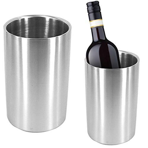 Yuehuam Cubo Enfriador de Vino Cubo de Champan con Doble Pared de Acero Inoxidable 12 Cm Enfriador de Vino sin Hielo Mantener El Vino Frio Decorar para La Mesa de Comedor de La Cocina
