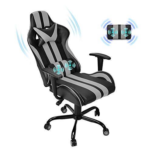 Ferghana Gaming Chair,Massage Computer Chair,Video Game Chairs,Racing Chair for Gaming with Backrest and Seat Height Adjustable for Adults Teens Gifts(Flash Gray)
