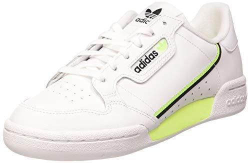 adidas Continental 80 J, Scarpe da Ginnastica, Bianco (Ftwr White/Signal Green/Core Black), 38 2/3 EU