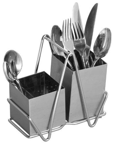 Premier Housewares Porta posate in acciaio INOX cromato con 2 scomparti