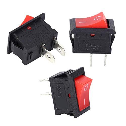 SALUTUYA KCD1‑ Mini botón de plástico de 2 Pines, 10 Piezas, interruptores, bebederos y Cintas de Correr para electrodomésticos