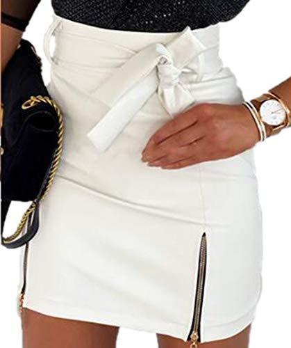 Babao Dames Nat Leren Mini-jurk Kunstleer Korte Rok
