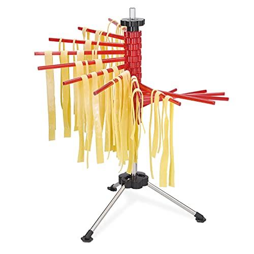 Navaris Stendi-Pasta Pieghevole per Pasta Fresca - Stendino per 2 kg Pasta Lunga - Essiccatore asciuga-Pasta Acciaio ABS 16 Assi Altezza 50cm - Rosso