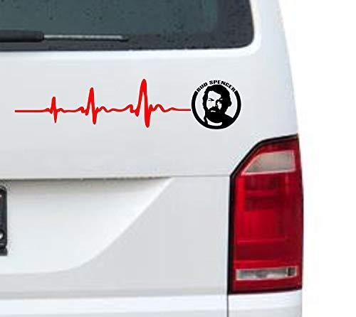 myrockshirt Herzschlag Bud Spencer Logo Gesicht Portrait 30cm Aufkleber für Auto,Lack,Scheibe&Wand, Autoaufkleber Decal Sticker Profi-Qualität