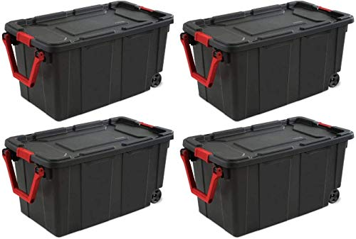 STERILITE 14699002 40 Gallon/151 Liter Wheeled Industrial Tote, Black Lid & Base w/Racer Red Handle & Latches, 4-Pack