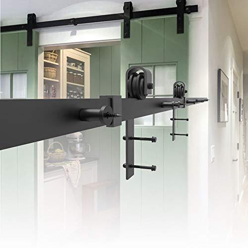 HENGMEI 366cm Schiebetürbeschlag Set Schiebetürsystem Beschlagset Laufschiene für Schiebetüren, Wandschränke