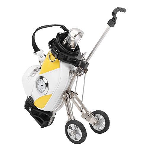 Fournyaa Minigolf-Tasche, 3 Kugelschreiber PU-Leder Desktop-Golftasche, Pen Geschenkset für Golf Zubehör Schreibtisch Dekoration