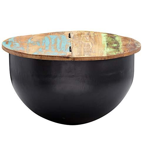FineBuy Couchtisch Mango 60x34x60 cm Massivholz Metall Tisch Industrial Rund Schwarz | Design Wohnzimmertisch mit Stauraum | Loungetisch Sofatisch Modern
